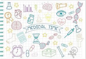 uppsättning medicinsk vetenskap element doodle på anteckningsboken vektor
