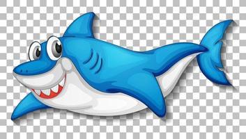 lächelnde niedliche Hai-Zeichentrickfigur isoliert vektor