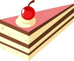 isometrisk kaka med körsbär på toppen vektor