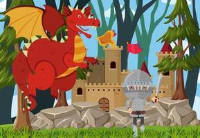 Schlossszene im Freien mit Drachen- und Ritterzeichentrickfigur vektor