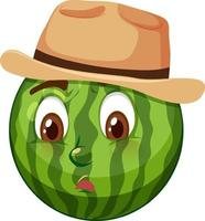 Wassermelonen-Zeichentrickfigur mit Gesichtsausdruck vektor