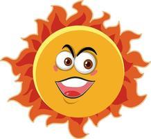 Sonnenkarikaturfigur mit glücklichem Gesichtsausdruck auf weißem Hintergrund vektor