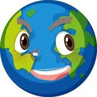 jorden seriefigur med glada ansiktsuttryck på vit bakgrund