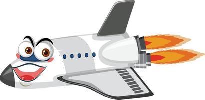 Flugzeugkarikaturfigur mit Gesichtsausdruck auf weißem Hintergrund