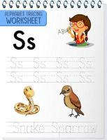 alfabetet spårning kalkylblad med bokstäverna s och s