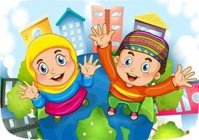 muslimsk syster och bror seriefigur