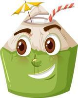 söt kokosnöt seriefigur med glad ansiktsuttryck på vit bakgrund