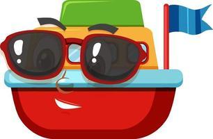 Boot Spielzeug Zeichentrickfigur mit Gesichtsausdruck vektor