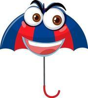 Regenschirm mit Gesichtsausdruck auf weißem Hintergrund vektor