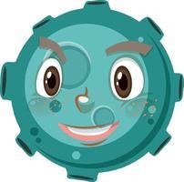 Asteroiden-Zeichentrickfigur mit glücklichem Gesichtsausdruck auf weißem Hintergrund vektor