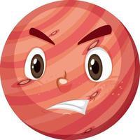 Mars-Zeichentrickfigur mit wütendem Gesichtsausdruck auf weißem Hintergrund vektor