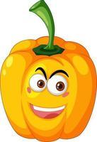gelbe Paprika-Zeichentrickfigur mit glücklichem Gesichtsausdruck auf weißem Hintergrund