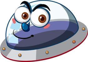 UFO mit glücklichem Gesichtsausdruck auf weißem Hintergrund