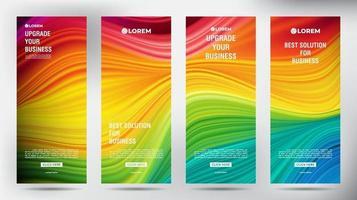 Mesh Color Flow Roll Up Business Broschüre Flyer Banner Set vektor