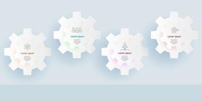 abstrakte horizontale Infografiken 4 Schritte für Business und Präsentation vektor