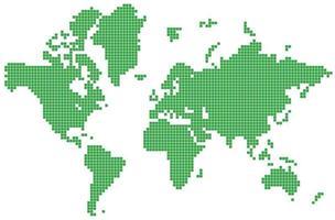 prickade världskarta vektor