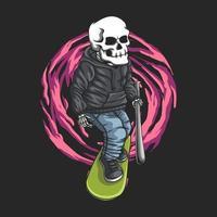 Schädel Skateboard Vektor-Illustration vektor