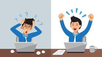 vektor tecknad karaktär affärsman uttrycker olika känslor för design.