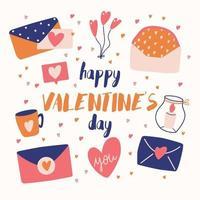 große Sammlung von Liebesobjekten und Symbolen für einen glücklichen Valentinstag. bunte flache Illustration.