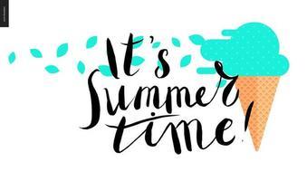 Es ist Sommer, Schriftzug und Minzeis vektor