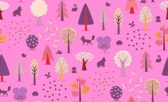 nahtloses Muster der Waldbäume. vektor