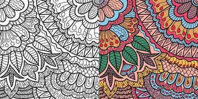 Gekritzel Blumen dekorative Henna-Stil Malbuch Seite für Erwachsene und Kinder. vektor