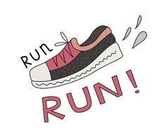 Sneaker und Run Schriftzug vektor