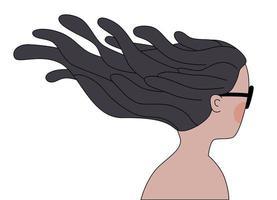 windiges brünettes Mädchen vektor
