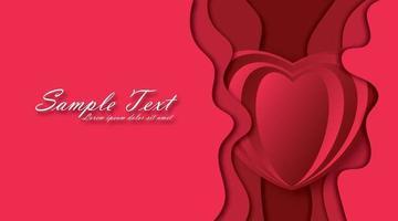 glad alla hjärtans dag bakgrund. papperskonst, kärlek och äktenskap. rött papper hjärta och papercut våg vektor
