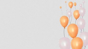Feierhintergrund mit realistischem Ballonvektor. Design 3d Illustration