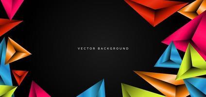 abstrakt mall färgglada geometriska trianglar levande på svart bakgrund med plats för din text. modern design. vektor