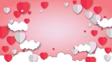Alla hjärtans dag vektor papper med rosa bakgrund. hjärta design och moln vektorillustration