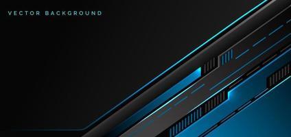 abstrakt teknik geometrisk blå och svart färg med blått ljus på svart bakgrund. vektor