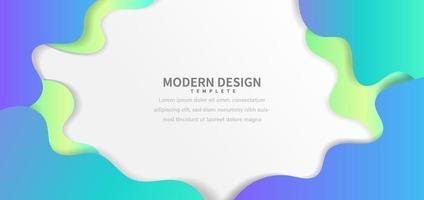 Blaues und Grün des abstrakten fließenden dynamischen Stilfahnen-Webdesigns auf weißem Hintergrund mit Kopierraum für Text. vektor