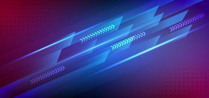 Technologie futuristischer Hintergrund gestreifte Linien mit Lichteffekt auf blauem, rosa Hintergrund. Platz für Text. vektor