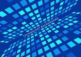 futuristischer perspektivischer Hintergrund des Musters der blauen Quadrate des abstrakten Technologiekonzepts. vektor