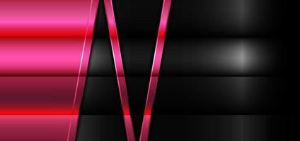 geometrische rosa glühende glänzende metallische Schichten der Bannerwebschablone auf schwarzem Metallhintergrund. vektor