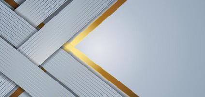 grauer geometrischer überlappender Hintergrund der abstrakten Schablone mit goldenen gestreiften Linien. Luxusstil. vektor