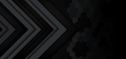 abstrakte graue und schwarze Pfeilglanzmetallrichtung auf dunklem Sechseckmaschenmusterdesignhintergrund. vektor