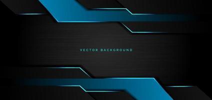 geometrische blaue metallische Überlappung der abstrakten Schablone mit dem modernen Technologiestil des blauen Lichts auf schwarzem Metallhintergrund und -beschaffenheit. vektor