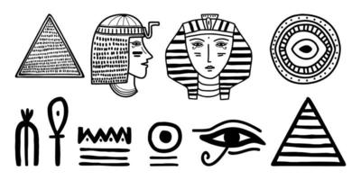 ägyptische ethnische Ikone der Stammeskunst. gezeichnete schwarze Silhouetten der ägyptischen Skizzenkarikaturhand lokalisiert auf einem weißen Hintergrund. vektor