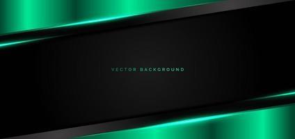 grüne metallische Überlappung des abstrakten Fahnennetzes mit modernem Technologiestil des grünen Lichts auf schwarzem Hintergrund. vektor