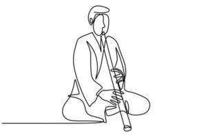 eine durchgehende einzeilige Zeichnung eines Mannes mit Shakuhachi-Flöte, traditionelle Musik Japans. vektor