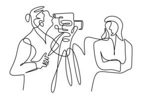 kontinuerlig en linje ritning av en professionell kvinna nyhetsankare ger en nyhet, live utbildning online, kommersiella annons koncept isolerad på vit bakgrund.
