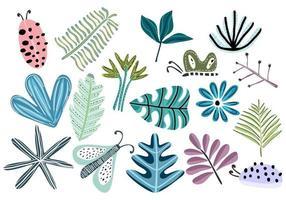 färgglada blommor och blad, skogstruktur