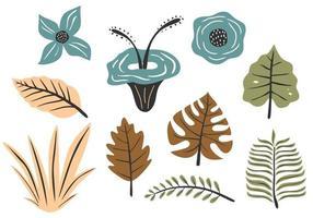 färgglada blommor och blad, skogstruktur vektor