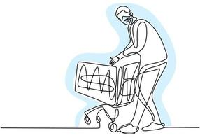 kontinuerlig en linje ritning av mannen som håller shoppingvagnen. ung man som står medan man köper mat i stormarknad med skyddande ansiktsmask för att inte sprida covid19. ny normal övergång