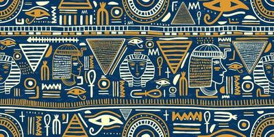 Stammes-nahtloses Muster der alten ägyptischen Verzierung. Stammeskunst ägyptischen Weinlese ethnischer Silhouetten nahtloses Muster in der blauen und goldenen Farbe. vektor