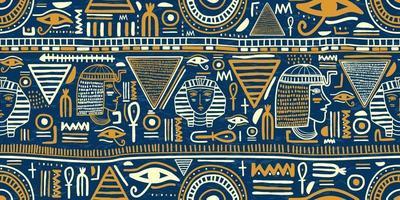 forntida egyptiska prydnad stam sömlösa mönster. stamkonst egyptiska vintage etniska silhuetter sömlösa mönster i blå och guld färg.