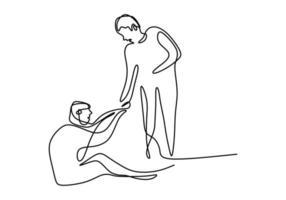 Eine Strichzeichnung von Menschen hilft den anderen. junger Mann, der dem anderen Mann hilft, der gefallen ist, zeigt Solidaritätsgeste. humanitärer Tag. Konzept der gegenseitigen Unterstützung. minimale Stilvektorillustrationen vektor